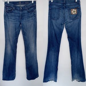 7 For All Mankind Medium Wash Bootcut Flower Jeans